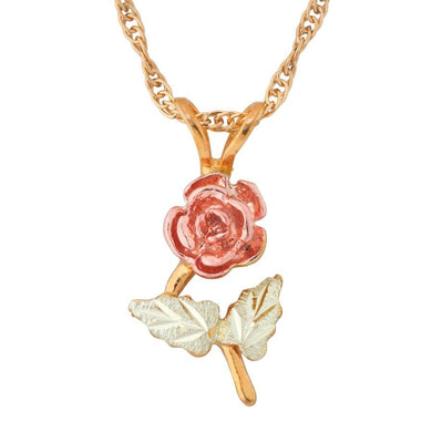 Black Hills Gold Stunning Rose Pendant & Necklace - Jewelry