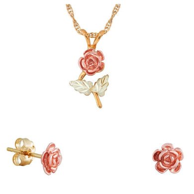Black Hills Gold Simple Rose Earrings & Pendant Set