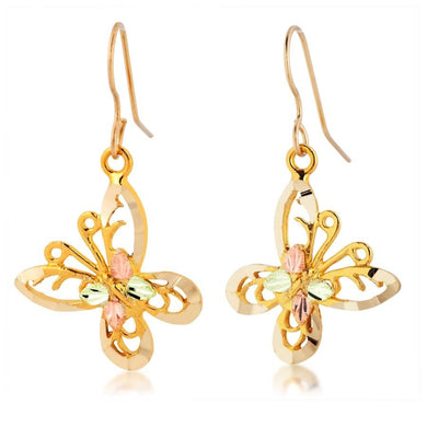 Shimmering Butterflies Black Hills Gold Earrings - Jewelry