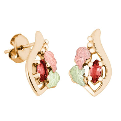 Marquise Garnet Black Hills Gold Earrings - Jewelry