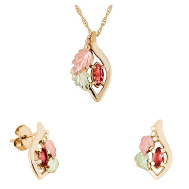 Black Hills Gold Marquise Garnet Earrings & Pendant Set