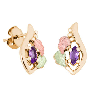 Marquise Amethyst Black Hills Gold Earrings - Jewelry