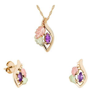 Black Hills Gold Marquise Amethyst Earrings & Pendant Set