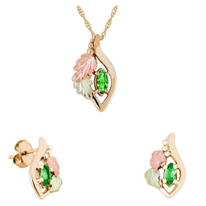 Black Hills Gold Marquise Emerald Earrings & Pendant Set