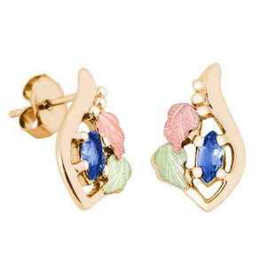 Marquise Sapphire Black Hills Gold Earrings - Jewelry