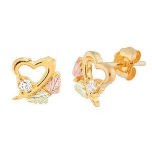 Heart Outlines Black Hills Gold Diamond Earrings - Jewelry