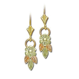 Dangling Flower Black Hills Gold Earrings - Jewelry