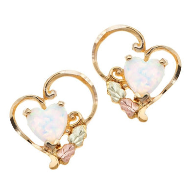 Opal Hearts Black Hills Gold Earrings - Jewelry
