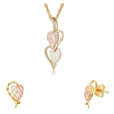Black Hills Gold Foliage Hearts Earrings & Pendant Set III