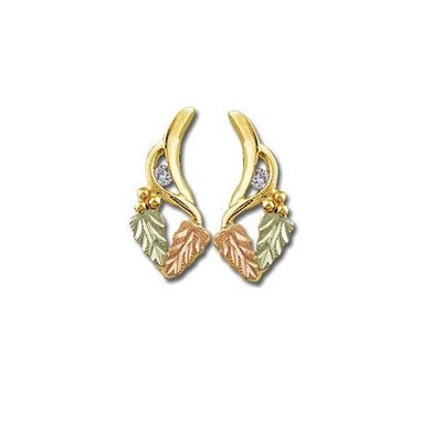 Diamond Foliage 14K Black Hills Gold Earrings - Jewelry