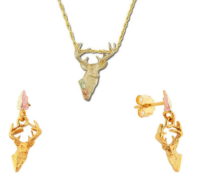 Black Hills Gold Stately Buck Earrings & Pendant Set
