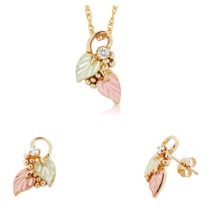 Black Hills Gold Diamond Foliage Earrings & Pendant Set II