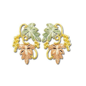 Grapes And Foliage Black Hills Gold Earrings II - Jewelry