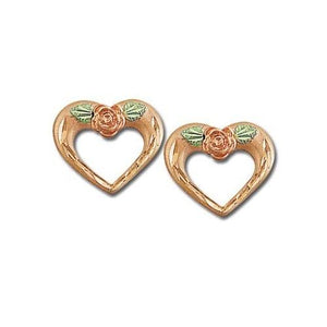 Rose on Hearts Black Hills Gold Earrings - Jewelry