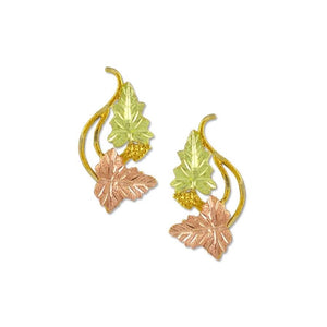 Swirling Foliage Black Hills Gold Earrings I - Jewelry