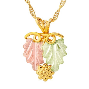 Black Hills Gold Leaves with Grapes Pendant & Necklace - Jewelry