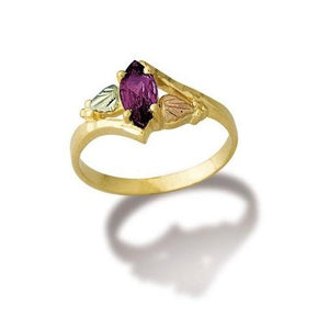 Black Hills Gold Marquise Cut Amethyst Ring - Jewelry