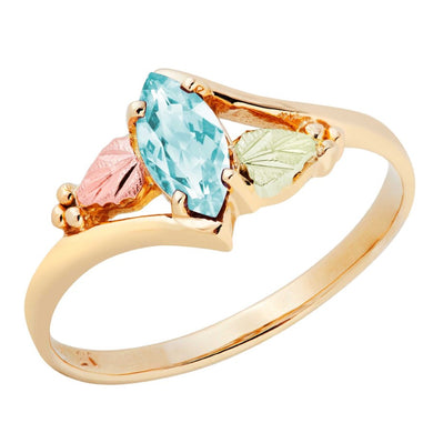 Black Hills Gold Marquise Cut Aquamarine Ring