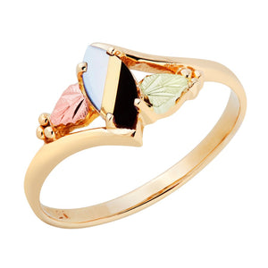 Black Hills Gold Opal and Onyx Ring