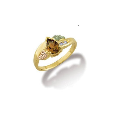 Black Hills Gold Pear Cut Citrine Ring