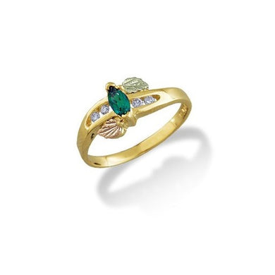 Black Hills Gold Emerald and Diamonds Ring
