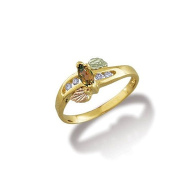 Black Hills Gold Citrine and Diamonds Ring