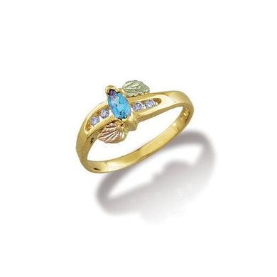 Black Hills Gold Blue Topaz and Diamonds Ring