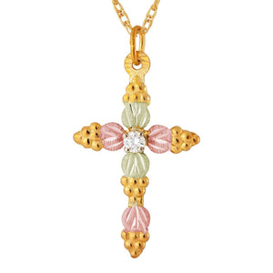 Black Hills Gold Diamond Cross Pendant & Necklace