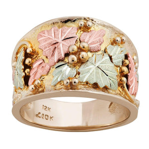 Mens Black Hills Gold Thick Leaves Ring IV - Jewelry