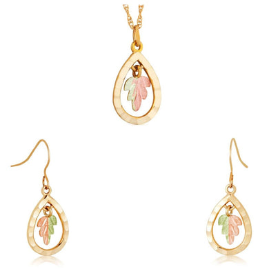 Black Hills Gold Dangling Foliage Earrings & Pendant Set