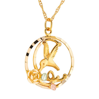 Black Hills Gold Circular Hummingbird Pendant & Necklace