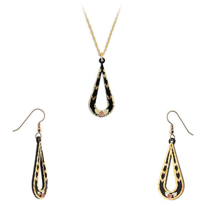 Black Hills Gold Powder Coat Earrings & Pendant Set II