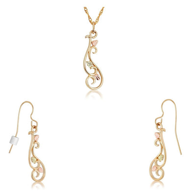 Black Hills Gold Swirly Earrings & Pendant Set II