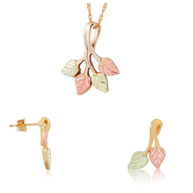 Black Hills Gold Stylish Foliage Earrings & Pendant Set