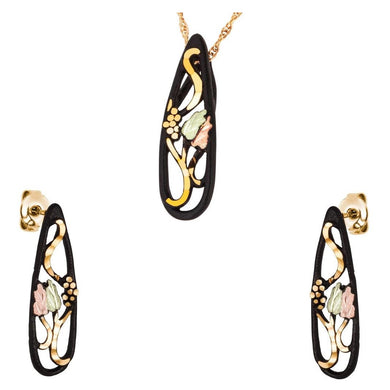 Black Hills Gold Powder Coat Earrings & Pendant Set I