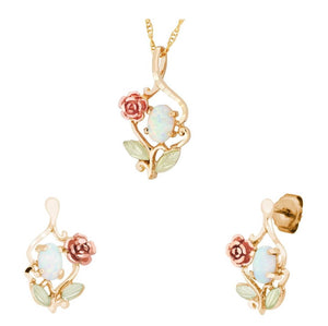 Black Hills Gold Rose Opals Earrings & Pendant Set