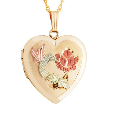 Black Hills Gold Hummingbird Locket Pendant & Necklace - Jewelry