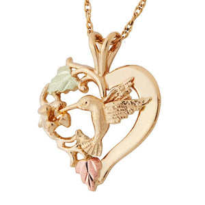 Hummingbird In a Heart Black Hills Gold Pendant & Necklace - Jewelry