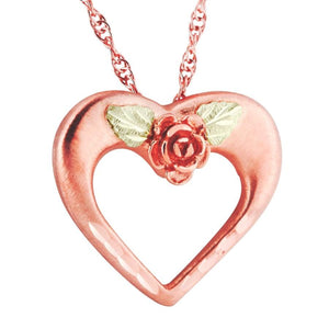 Open Heart with Rose Black Hills Gold Pendant & Necklace - Jewelry