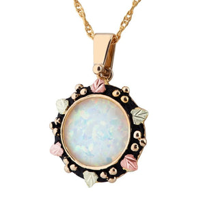 Black Hills Gold Opal Sun Pendant & Necklace - Jewelry