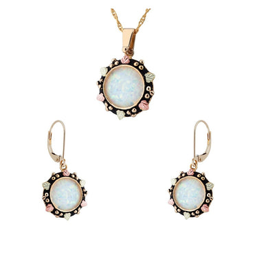 Black Hills Gold 14 Karat Opal Earrings & Pendant Set