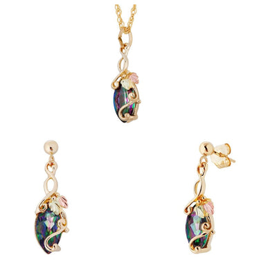 Black Hills Gold Mystic Fire Topaz Earrings & Pendant Set