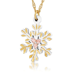Black Hills Gold White Snowflake Pendant & Necklace - Jewelry