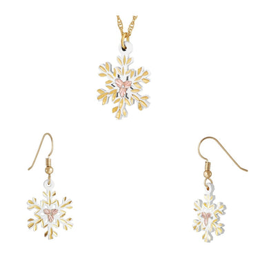 Black Hills Gold White Snowflake Earrings & Pendant Set