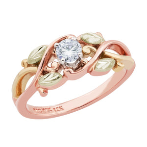 Black Hills Rose Gold Foliage Engagement / Wedding Ring Set