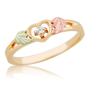Black Hills Gold Diamond Heart Ring II - Jewelry