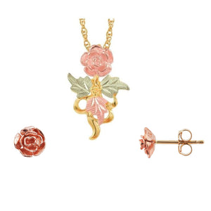 Black Hills Gold Beautiful Roses Earrings & Pendant Set