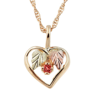 Black Hills Gold Garnet Heart Pendant & Necklace - Jewelry