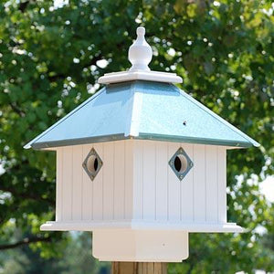 Carriage Bird House Verdigris Roof - Birdhouses