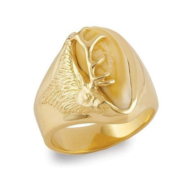 Teton Elk Ivory Gold Ladies Ring